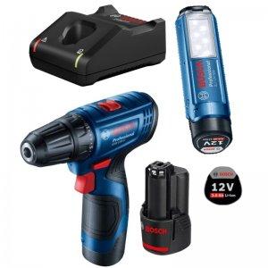 Aku vrtací šroubovák 2x2,0Ah + GLI 12V-300 Bosch GSR 120-LI 06019G8004