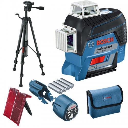 Křížový laser Bosch GLL 3-80 C Professional + stativ BT 150