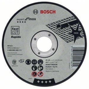 Dělicí kotouč rovný inox Rapido standard AS 60 T INOX BF, 125 mm, 22,23 mm, 1 mm Bosch 2608600549