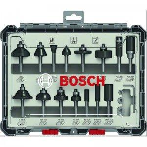 Sada tvarových fréz 15ks s 6mm vřetenem Bosch 2607017471
