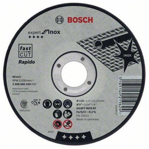 Dělicí kotouč rovný inox Rapido standard AS 60 T INOX BF, 115 mm, 22,23 mm, 1 mm Bosch 2608600545
