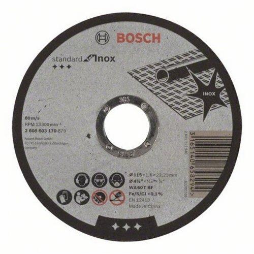 Dělicí kotouč rovný na nerez Standard for Inox WA 60 T BF, 125 mm, 22,23 mm, 1,6 mm Bosch 2608603172