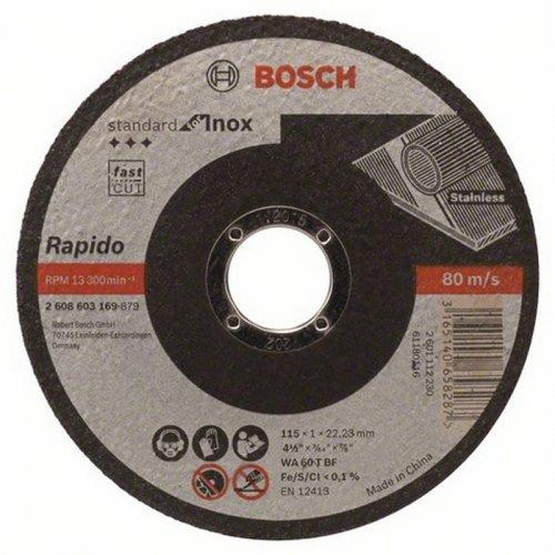 Dělicí kotouč rovný na nerez Standard for Inox Rapido WA 60 T BF, 115 mm, 22,23 mm, 1,0 mm Bosch 2608603169