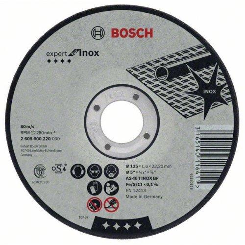 Dělicí kotouč rovný na nerez (Inox) AS 46 T INOX BF, 125 mm, 22,23 mm, 2 mm Bosch 2608600094