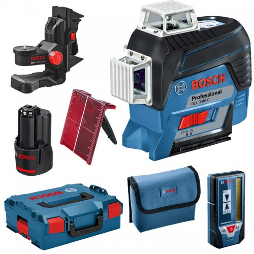 Křížový laser Bosch GLL 3-80 C Professional L-Boxx 136 + držák BM1 + přijímač LR7