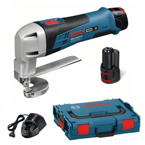 Aku nůžky na plech 2x2,0Ah + L-Boxx Bosch GSC 12V-13 Professional